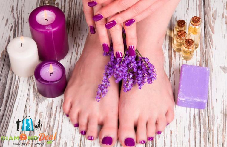 Esztétikai pedikűr, kéz és láb gél-lakkozással, kényeztető levendulás lábmasszázzsal!